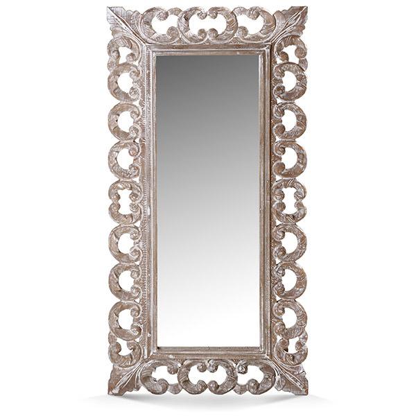 mahogany wood mirror with white patina
