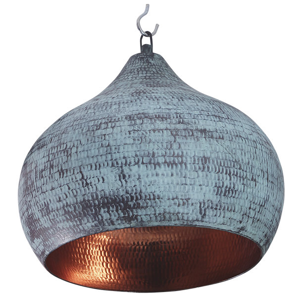 round copper lamp with a vintage finishing