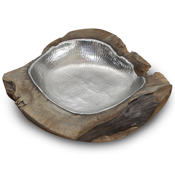 teak root bowl with an aluminium foil