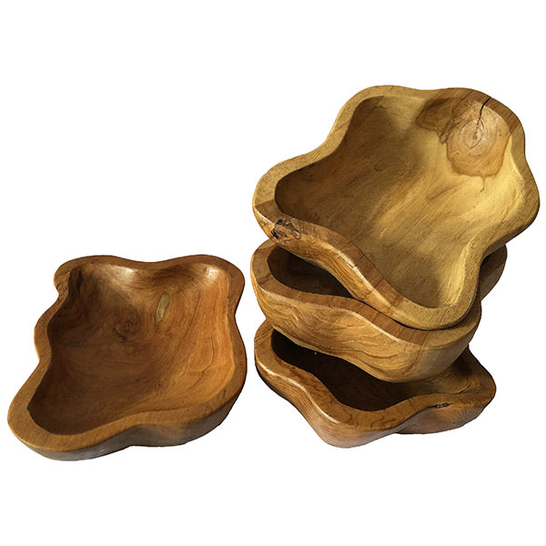 set of 4 teak wood containers