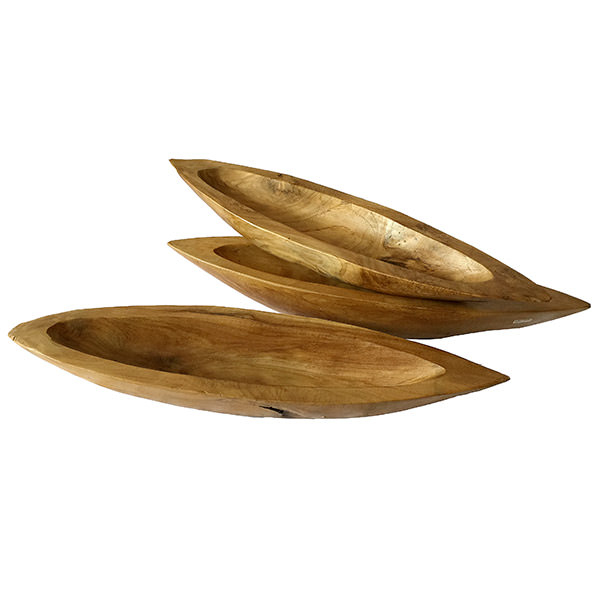 set of 3 long teak fruit bowls
