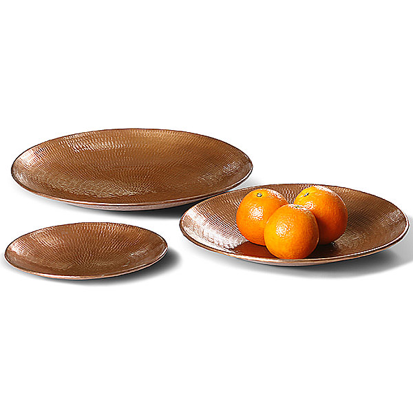 set of 3 round copper plates