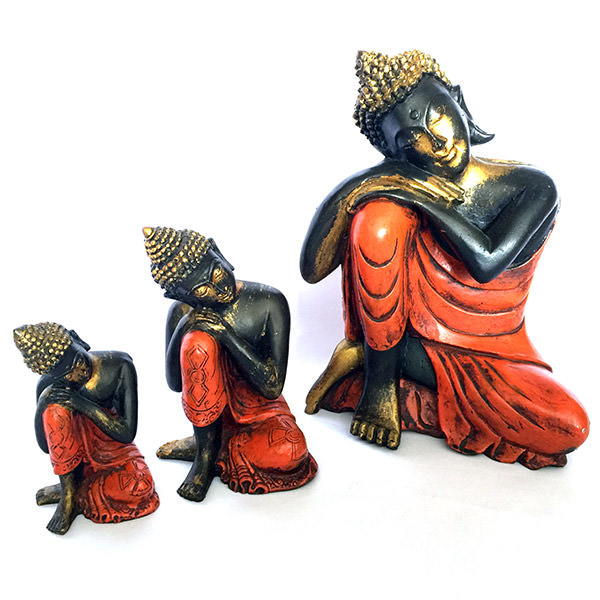 set of 3 sitting buddhas figurines