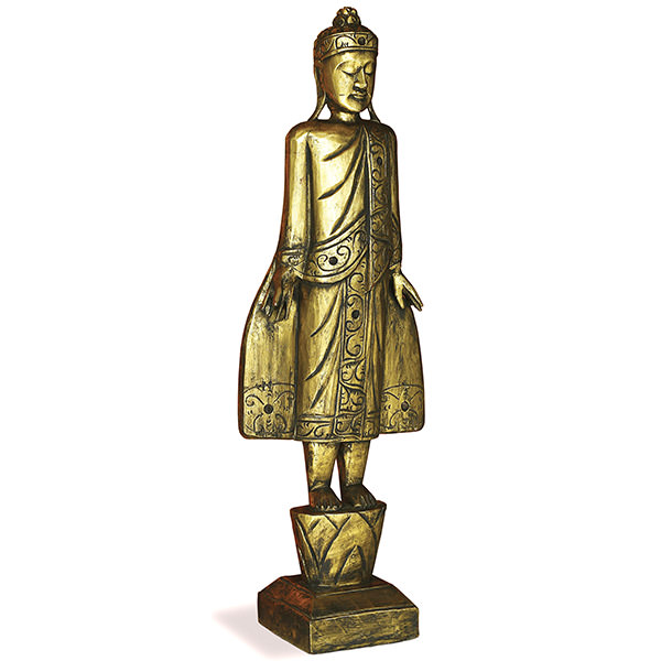 wood figurine of a standing buddha with golden finishing