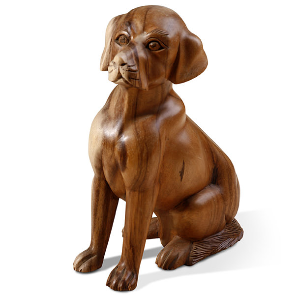 wood dog figurine