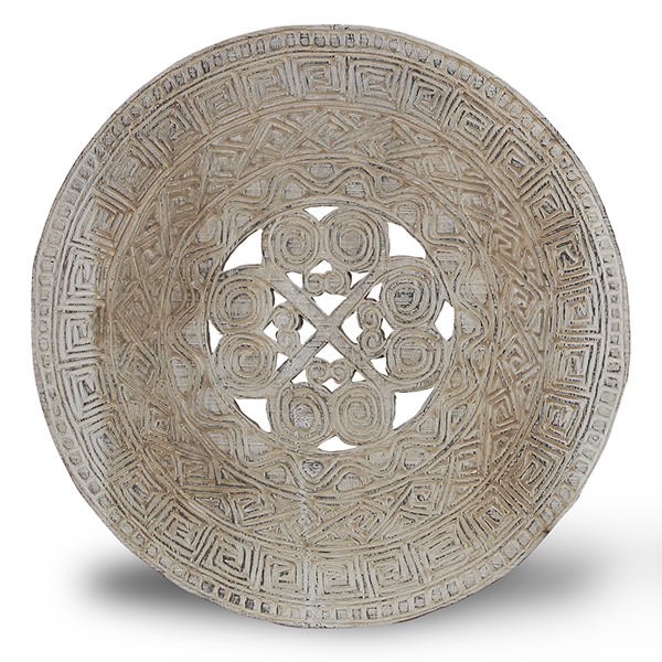traditional white round wood carving