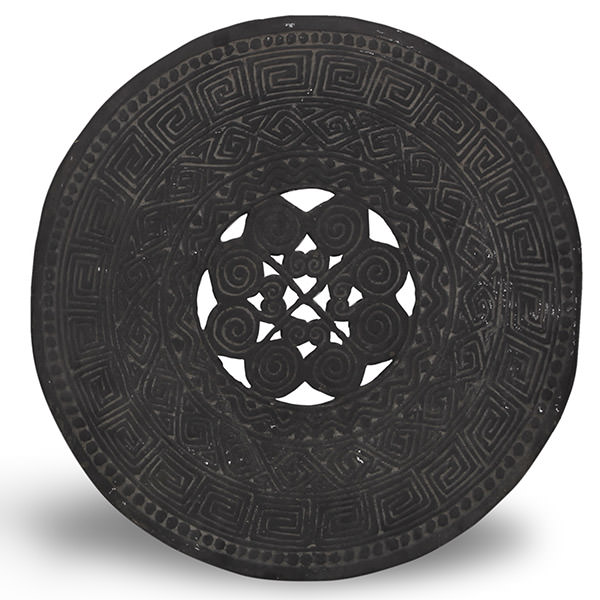 ethnic black round wood carving