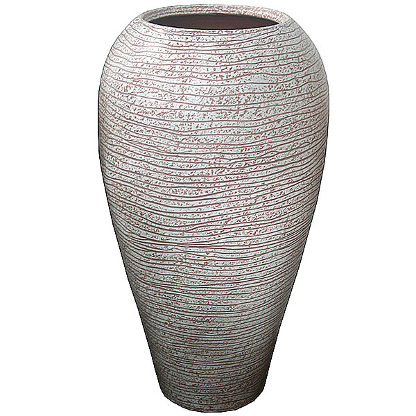 withe and rose terra-cotta vase
