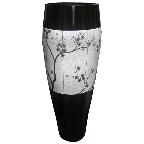 black terrazzo pot with japanese drawing
