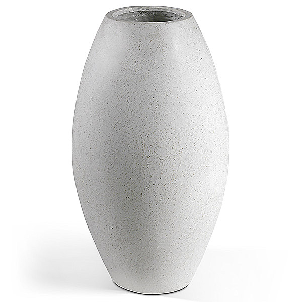 tall white oval terrazzo pot