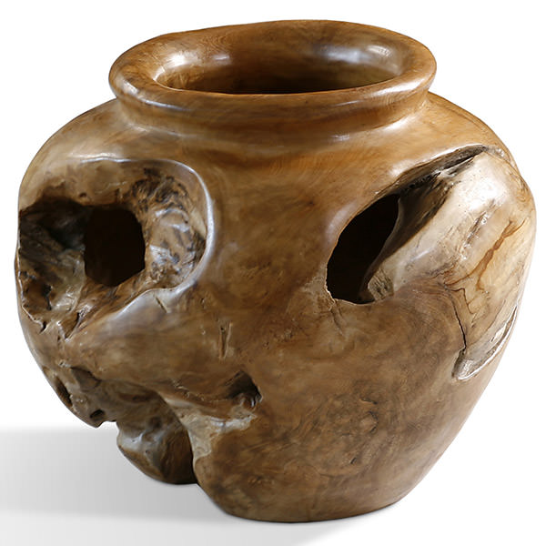 round teak root pot with natural shape