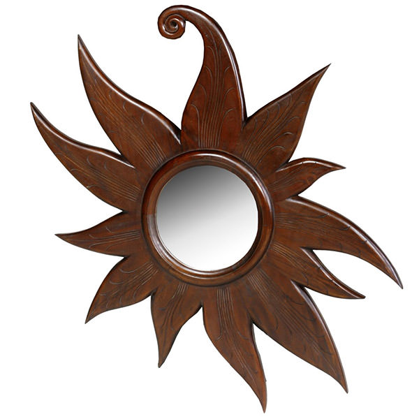 white standing mahogany wood mirror with carvings