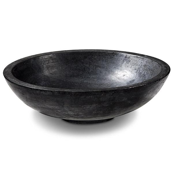 round black terrazzo sink