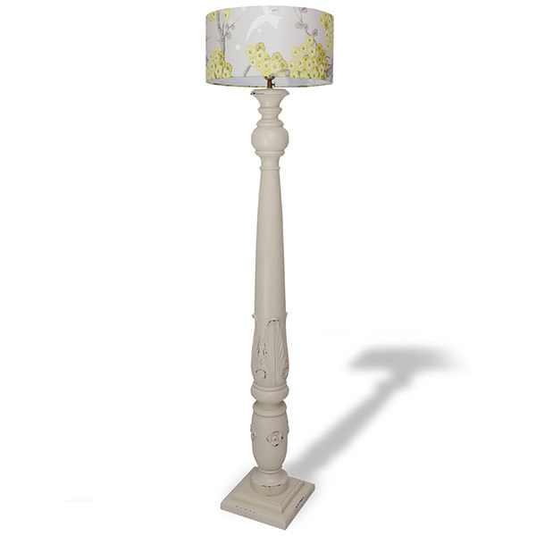 standing mahogany wood lamp with white distressed finishing