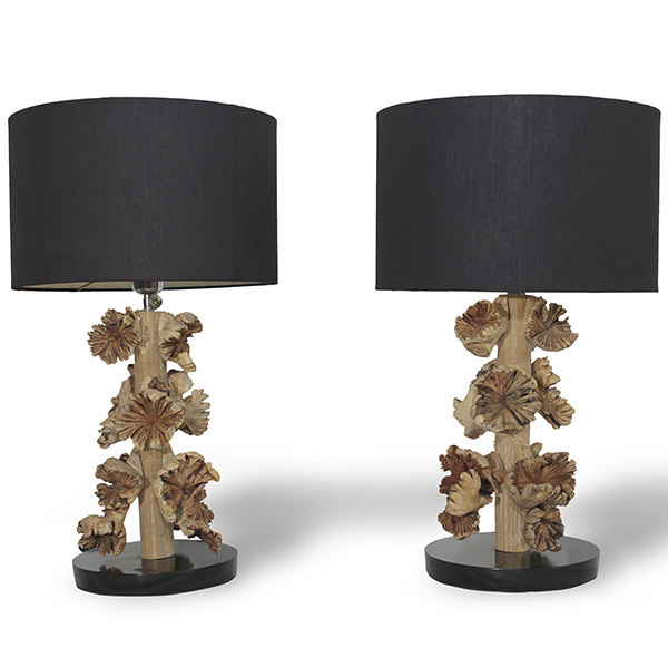 set of 2 wood table lamps