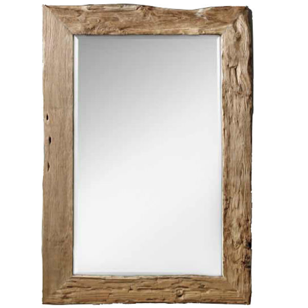 recycled teak wood mirror with natural finishing