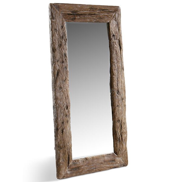 tall recycled teak wood mirror