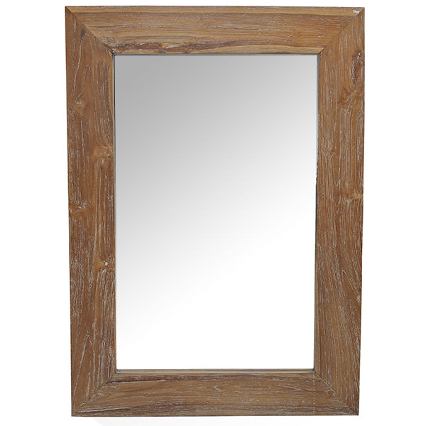teak wood mirror with natural finishing