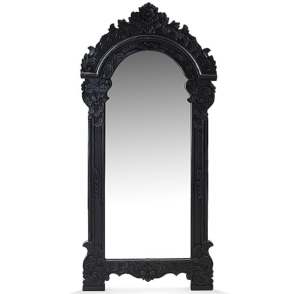 wood mirror with black finishing and carvings