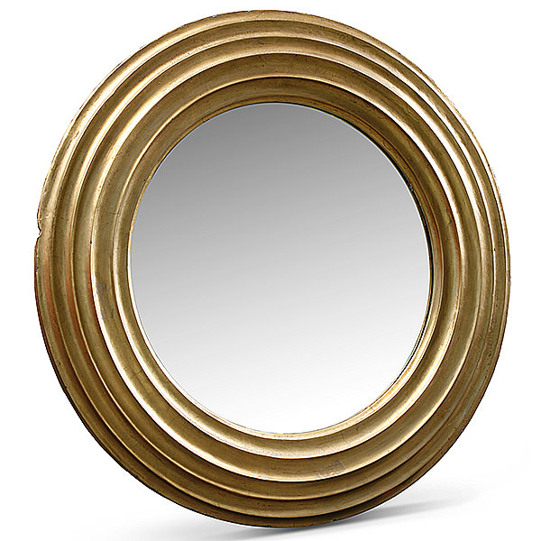 round wood mirror with gold finishing