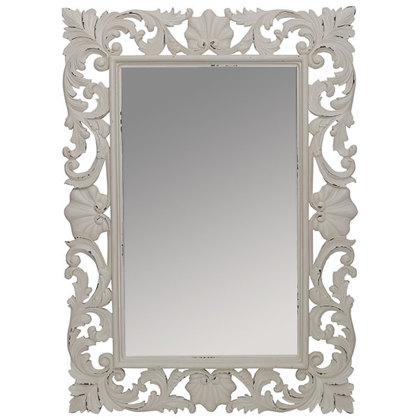 wood mirror with white finishing and carvings