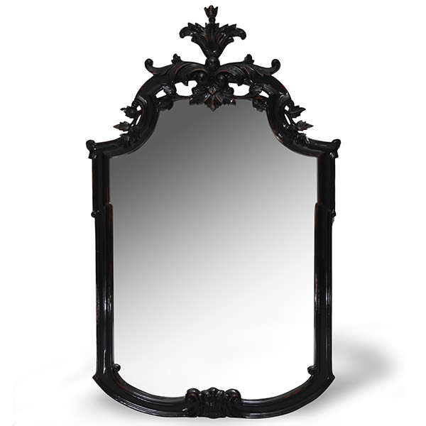 wood mirror with black finishing and aristocratic carvings