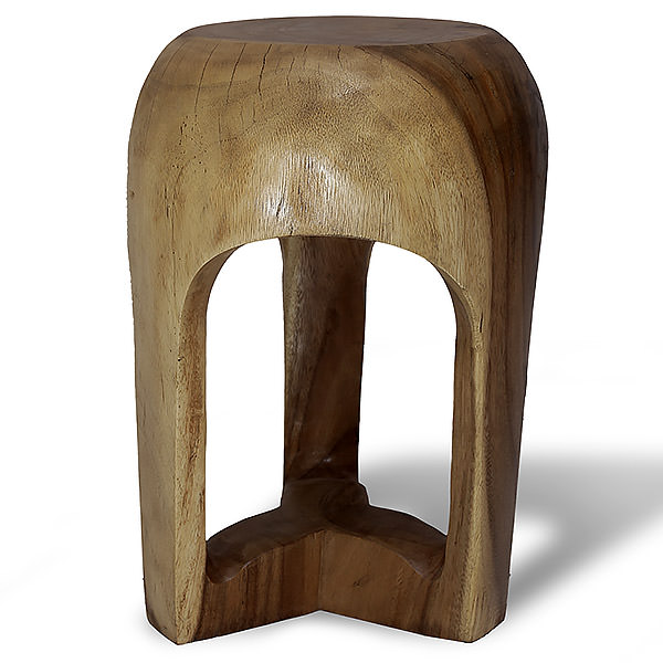Suar stool with a round top