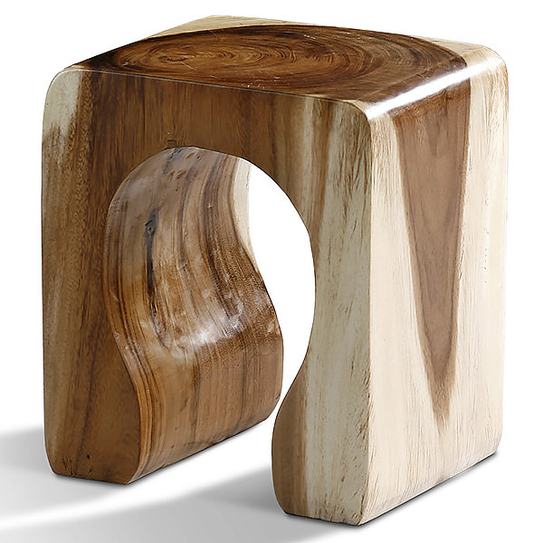Suar stool with natural finishing