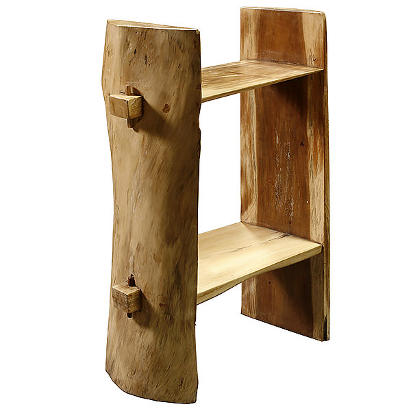 Suar book case with two shelves and a natural shape