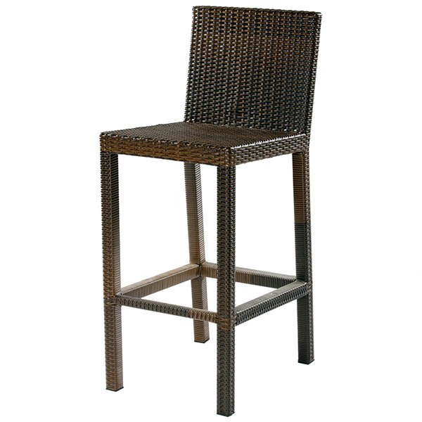 brown synthetic rattan bar chair