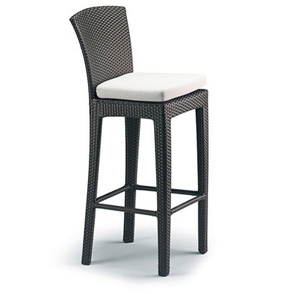 black synthetic rattan chairs with cushion for bar