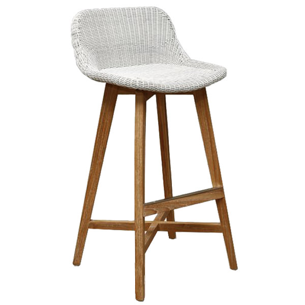 synthetic rattan bar stool with teak wood legs