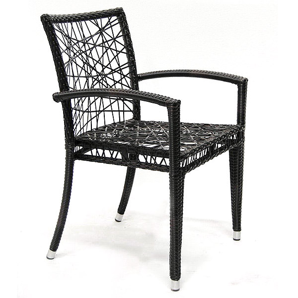 black synthetic rattan armchair with web backseat