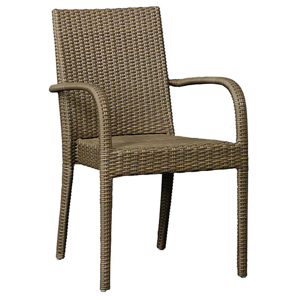 synthetic rattan armchair with curvy arms