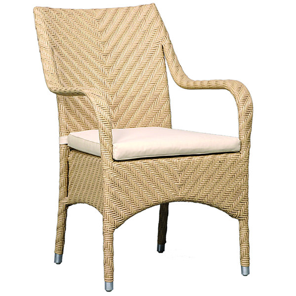 synthetic rattan armchair with natural rattan color
