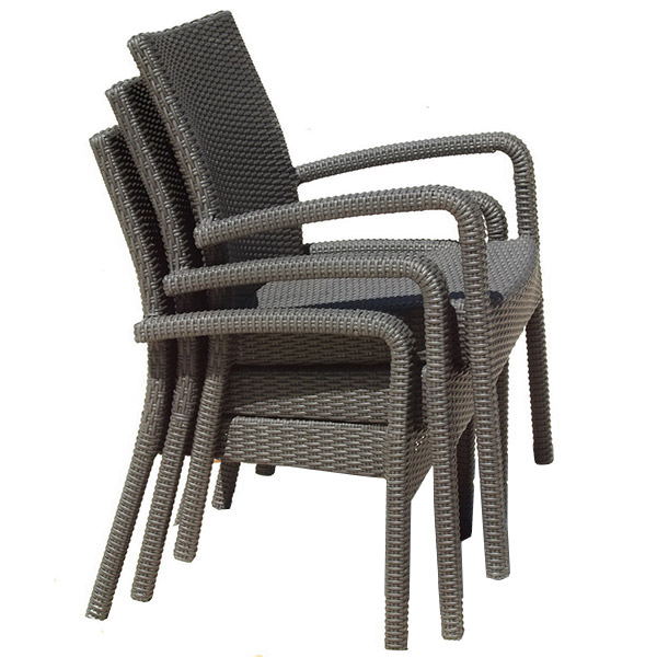 stackable synthetic rattan armchairs