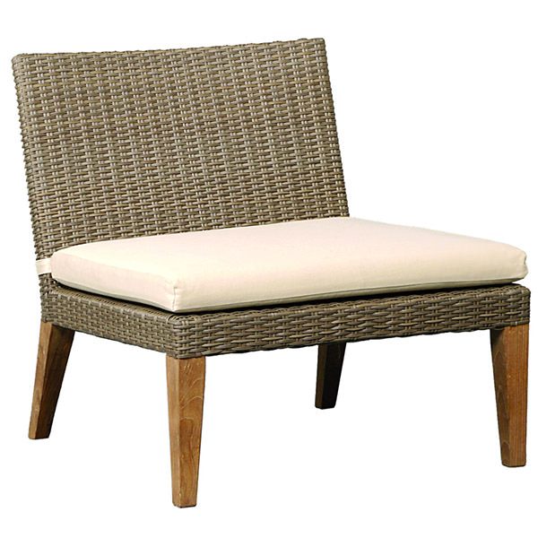 wide synthetic rattan chair with cushion