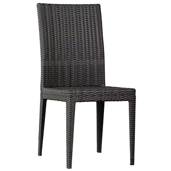 black synthetic rattan chair with high back