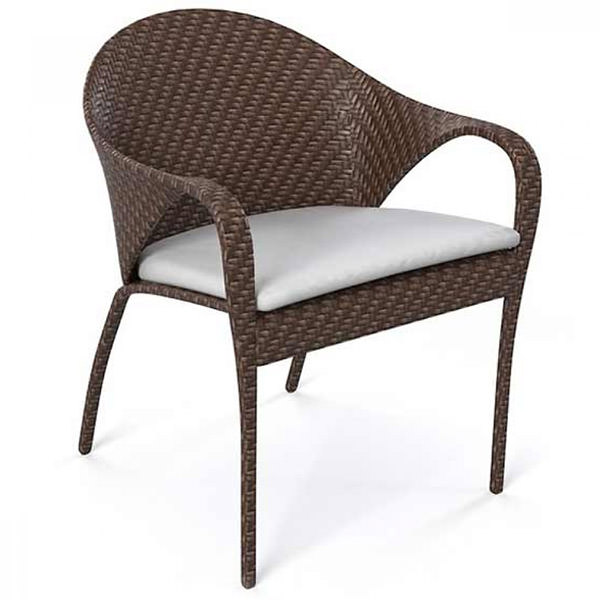 synthetic rattan chair with curvy arms and white cushion. POLYRATTAN CHAIRS   BENCHES   STOOLS manufacturer