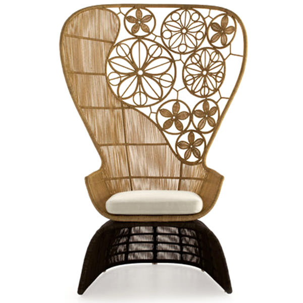 synthetic rattan chair with flowers design