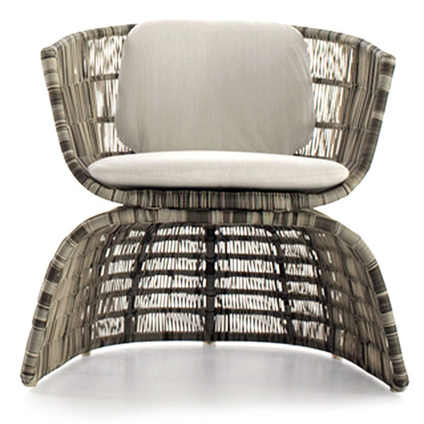 elegant synthetic rattan chair with white cushions