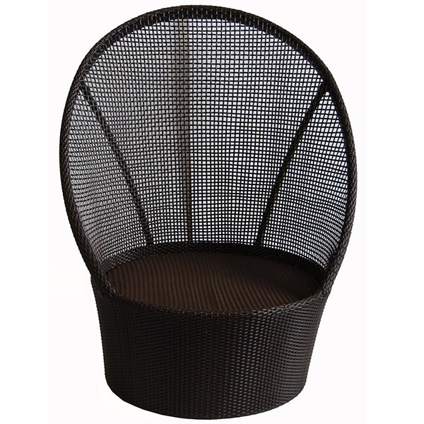 black synthetic rattan chair with curvy back