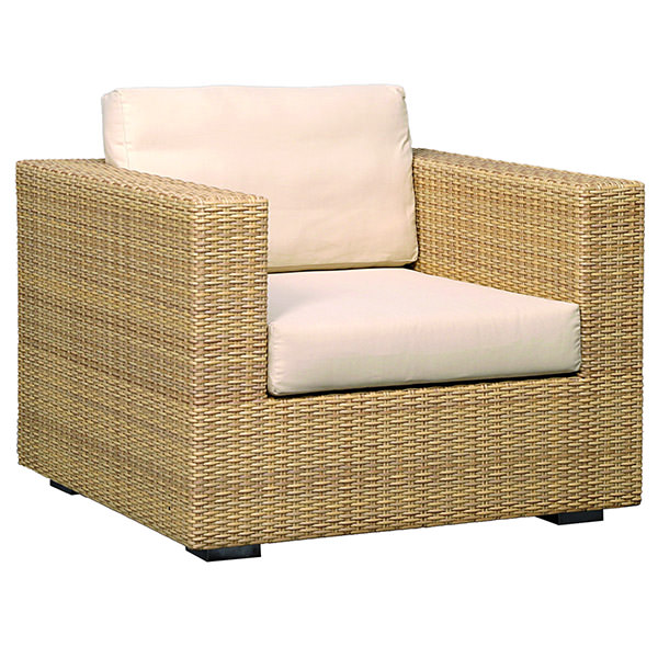 big synthetic rattan seat with white cushions