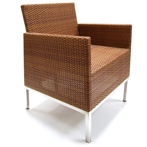brown synthetic rattan arm seat with square shape