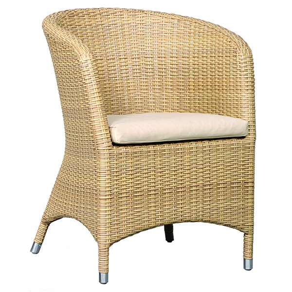 synthetic rattan arm seat with curvy back