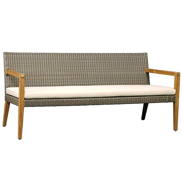 three seater synthetic rattan sofa with wood arms