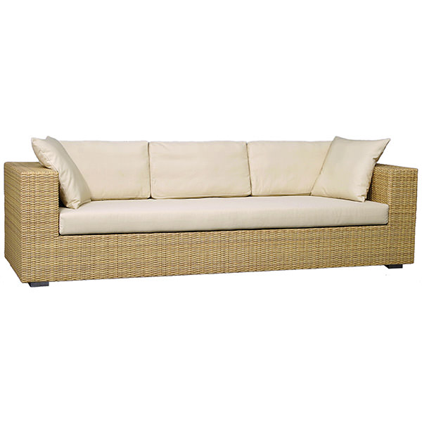 four seater synthetic rattan sofa with white mattress