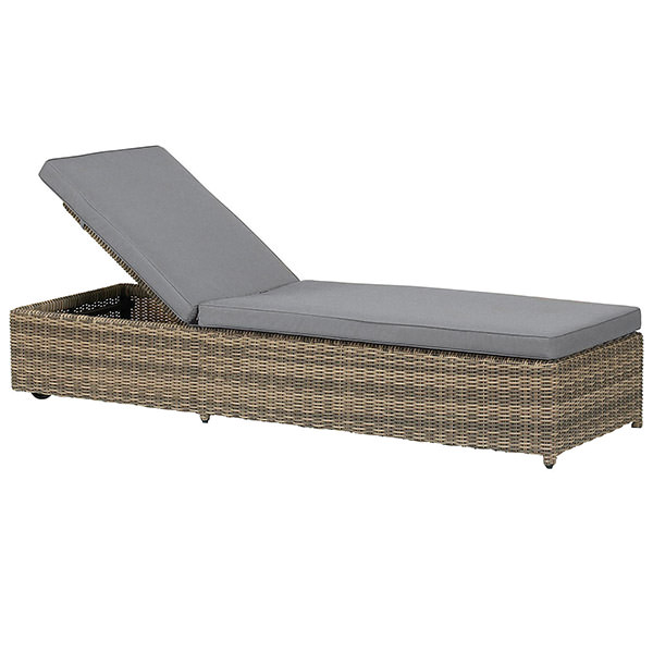 brown synthetic rattan lounge chairs with grey mattress