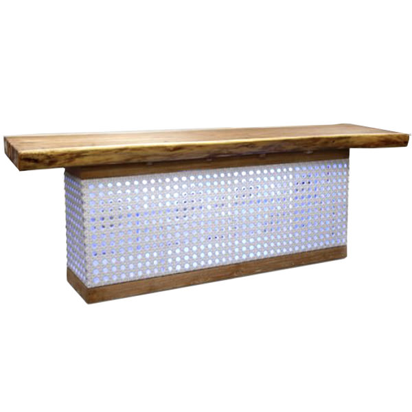 synthetic rattan bar with suar wood top