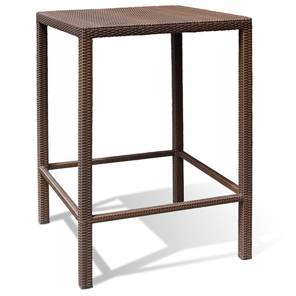square and brown synthetic rattan bar